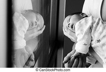 młody, macierz, jej, Nowo narodzony, niemowlę