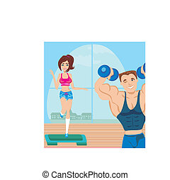 man and woman exercises in the gym