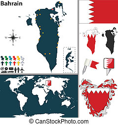 Map of Bahrain - Vector map of Bahrain with regions, coat of...