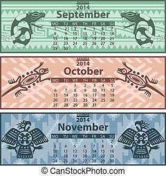 Calendar 2014 with mayan ornaments - Vector of Autumn...
