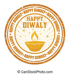 Happy Diwali stamp - Happy Diwali grunge rubber stamp on...