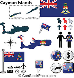 Map of Cayman Islands - Vector of Cayman Islands set with...