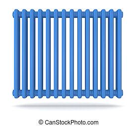radiator - front view of a blue radiator  (3d render)