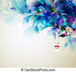abstract women - Beautiful abstract women with abstract...