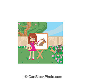 Little artist girl painting dog on large paper canvas