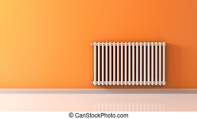 radiator - sunny room with a radiator on a orange wall (3d...