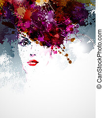 woman face  - abstract design elements with woman face