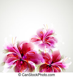 flowers  - Tender background with growing abstract flowers