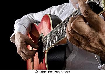 Guitarist - Close up of man playing classical guitar