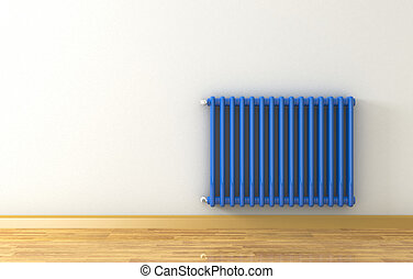 radiator - sunny room with a blue radiator on a grey wall 3d...