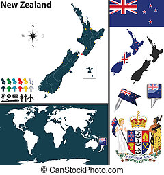 Map of New Zealand - Vector of New Zealand set with detailed...