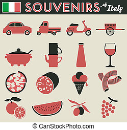 Souvenirs of italy. 16 flat simple pictogram of peculiar...