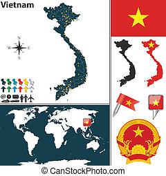 Map of Vietnam - Vector map of Vietnam with regions, coat of...