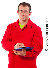 portrait of contractor with clipboard isolated on white background
