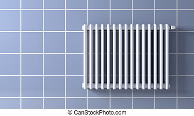 radiator - front view of a tiled wall with a radiator 3d...