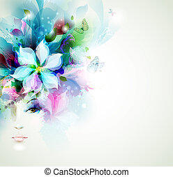 fashion women - Beautiful fashion women face with flower