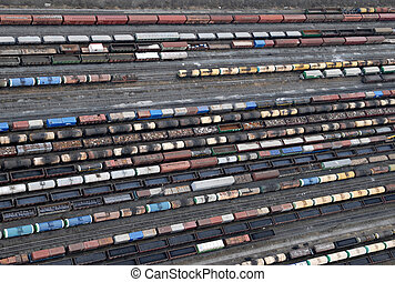 Many wagons and trains. Aerial view. Railway transport in...