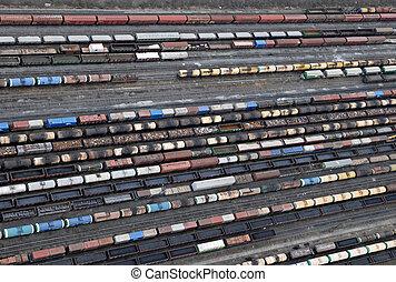 Muchos, carros, trenes, aéreo, vista