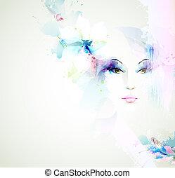 Beautiful women - Beautiful fashion women face with natural...