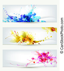 three headers - Set of three headers. Abstract artistic...