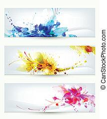 three headers - Set of three headers. Abstract artistic...