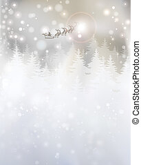 Christmas abstract - santa, flying, tree, sleigh, deer,...