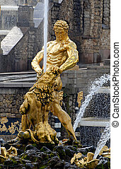 great fountain Samson in Peterhof, St Petersburg, Russia. -...