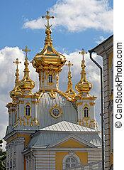 Church in Peterhof. St.Petersburg, Russia. Peterhof Palace....