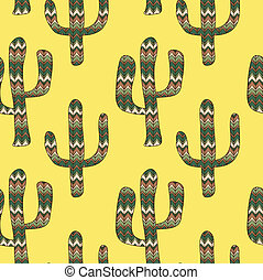 pattern with cactuses on a yellow b - a seamless pattern...