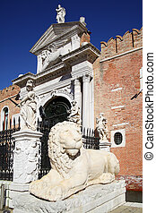 Venetian Arsenal - Entrance to the Venetian Arsenal, Venice,...