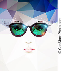 woman face - vecfashion woman with glasses