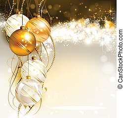 Christmas background - bright Christmas background with gold...