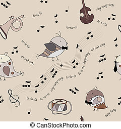 birds, musical instruments, notes,