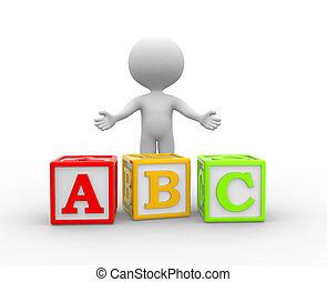 Cubes - 3d people - man, person with alphabet ABC cubes