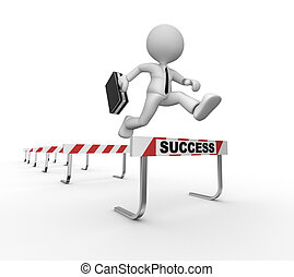 Success - 3d people - man, person jumping over a hurdle...