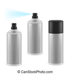 Three spray cans - Two opened and one closed spray cans on...