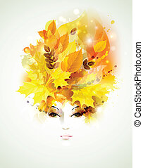 women face - Beautiful women in autumn circlet of leaves