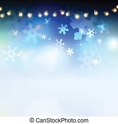 Christmas abstract blue background with garland