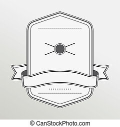 Retro style monochrome emblem with ribbon