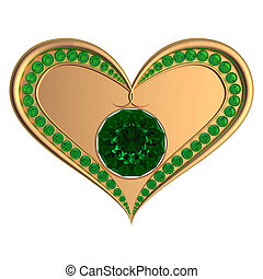 Emerald heart jewelry isolated on the white background