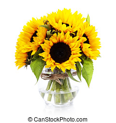 sunflowers - Sunflowers in a vase over white