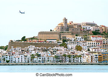 Ibiza Eivissa town with blue Medite