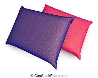Pillows. 3D rendered Illustration. Isolated on white.