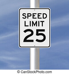 Speed Limit at 25  - A speed limit sign indicating 25
