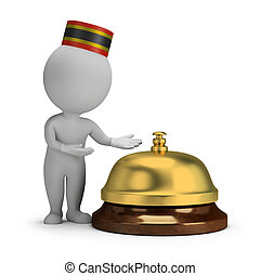 3d small people - bellboy and service bell - 3d small person...
