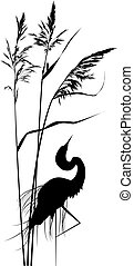 reed and heron - vector background with reed and heron in...