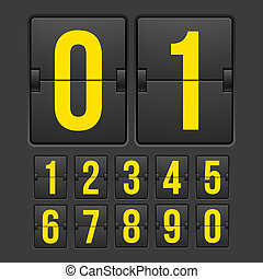 Countdown timer, white color mechanical scoreboard with...