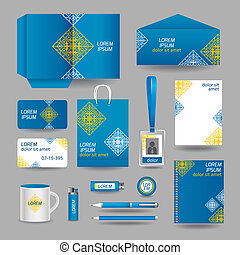Blue ornamental business stationery template for corporate...