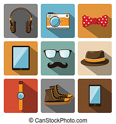 Hipster accessories pictograms set of clothes and items...