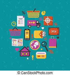 Internet shopping icons set